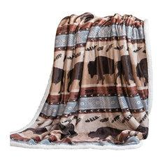 "Carstens Wrangler Buffalo Southwestern Sherpa Fleece Throw Blanket, 54""x68"""