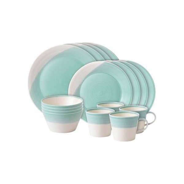 Royal Doulton 1815 Dinner Plates, Aqua, 16-Piece Set