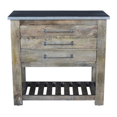 Earwyn Mango Wood 3 Drawer Charcoal Gray Chest With Metal Top