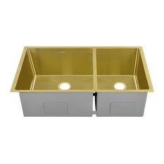 "Rivage 33""x20"" Stainless Steel, Dual Basin, Undermount Kitchen Sink, Gold"