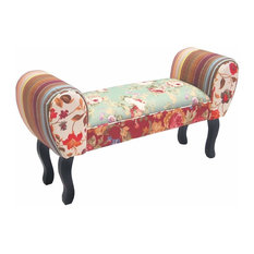 Contemporary Chaise in Fabric with Solid Wood Legs, Padded Seat for Comfort