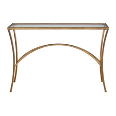 Minimalist Gold Arch Console Table, Metal Glass Top Hall Entry