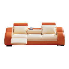 MOD   Julius Orange And Beige Leather Sofa   Sofas