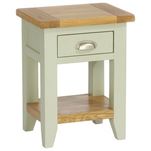 1-Drawer Acacia Bedside Table, French Grey
