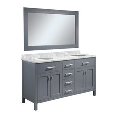 "London 61"" Double Sink Vanity Set, Gray Finish"