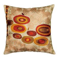 "Klimt Accent Pillow Cover, Ivory Swirls Hand Embroidered Art Silk 18x18"""