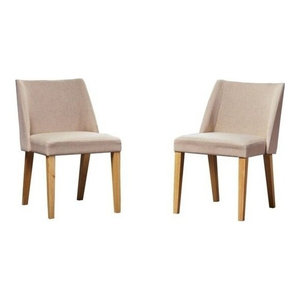 GDF Studio Radcliffe Fabric Side Chairs, Wheat, Set of 2