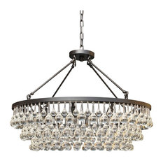 10-light Glass and Crystal Chandelier, 32in Diameter, Black