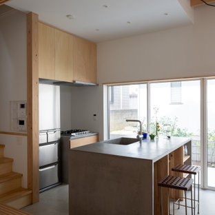 Design ideas for a small galley eat-in kitchen in Other with an integrated sink, open cabinets, light wood cabinets, brown splashback, timber splashback, stainless steel appliances, concrete floors, a peninsula, grey floor, grey benchtop and timber.