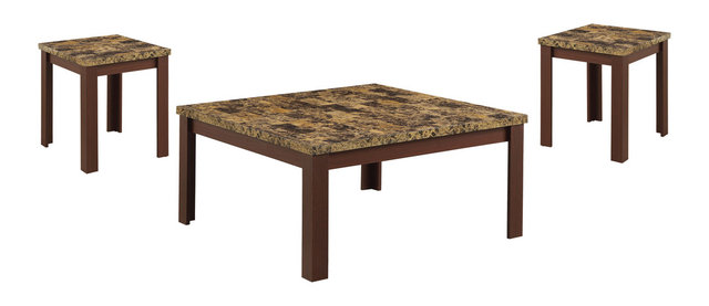 Acme Finely 3 Piece Faux Marble Coffee And End Table Set, Cherry