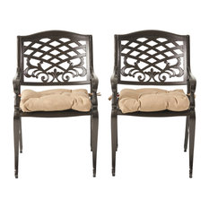 Laura Outdoor Dining Chair With Cushion, Set of 2, Hammered Bronze/Tuscany