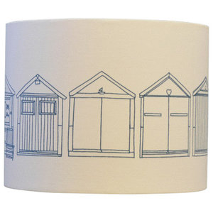 Beach Huts Drum Table Lampshade, Teal, Extra Large