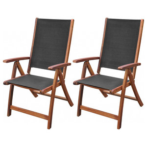 vidaXL Folding Chairs, Set of 2, Acacia Wood, Black