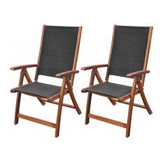 vidaXL Folding Chairs, Set of 2, Acacia Wood, Black