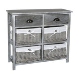 2-Drawer and 4-Wicker Basket Drawers Chest, Vintage Grey Range