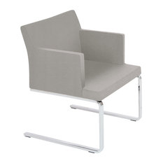 Soho Flat Lounge Chair, Chrome Plated Solid Steel Base, Light Gray Leatherette