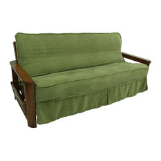 "Solid Microsuede 8 to 9"" Full Futon Slipcover, Sage Green"