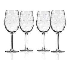 School of Fish White Wine Glass, 12 Oz., Set of 4 Wine Glasses