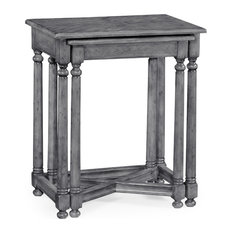 Antique Dark Gray Parquet Nesting Tables With Contrast Inlay