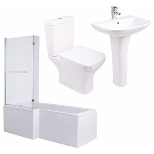 Bathroom Suite with WC Toilet Wash, Basin Sink and L-Shaped Bath, Modern Style