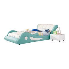 Teal Leather Flipper Kids Bed