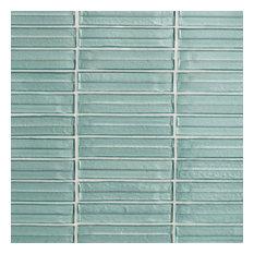 Tara Stacked Glass Mosaic Tile, Seafoam
