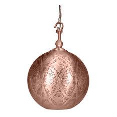 Sahar Copper-Galvanised Steel Hook Pendant With Matte Copper Finish, Medium