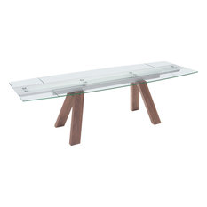 Zuo Modern   Modern Contemporary Dining Extension Table, Walnut, Glass   Dining  Tables
