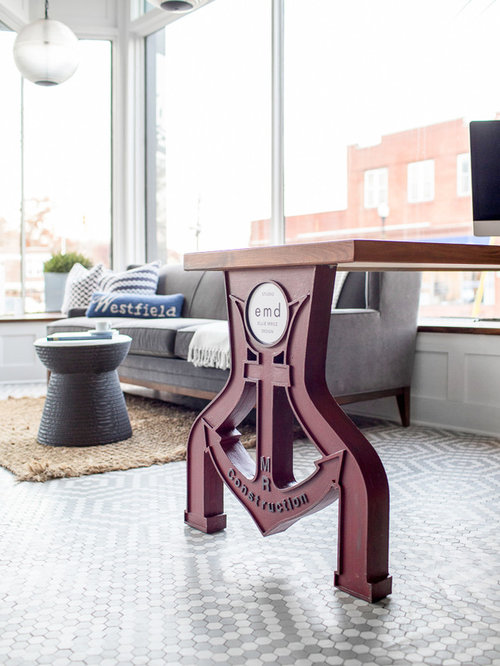 Industrial modern office Open Concept Save Houzz Industrial Modern Office Space