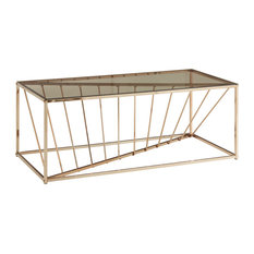 Dowey Rectangular Metal and Glass Top Coffee Table Gold by Inspire Q