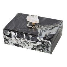 Marbled Jewelry Box or Organizer in Black / White / Gold