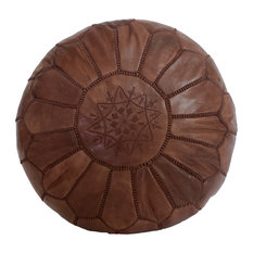 Embroidered Leather Pouf, Brown on Brown
