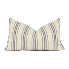 "French Country Striped Linen Lumbar Pillow Cover, Blue, 12""x20"""