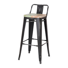 Joveco   Metal Low Back Bar Stools, Set Of 2, Black With White