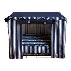 Bowhausnyc   Nautical Stripe Crate Cover, Large   Dog Kennels And Crates