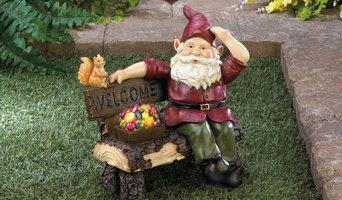 Garden Gnome On Welcome Bench-Solar