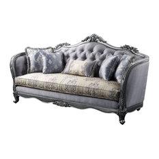 Sofa With 5 Pillows, Fabric and Platinum