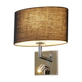 Black fabric wall lamp Karla with LED reading lamp