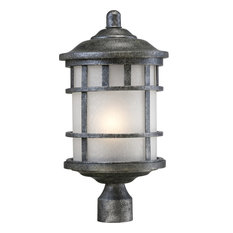 Manor 1 Light Outdoor Post Fixture With Frosted Seed Glass
