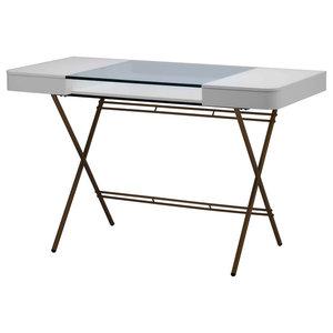 Cosimo Gold Glass Top Desk, Matte White Lacquered Drawers