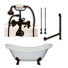 """Cast Iron Double Ended Slipper Tub, Oil Rubbed Bronze Plumbing Package, 71""""x30"""""""