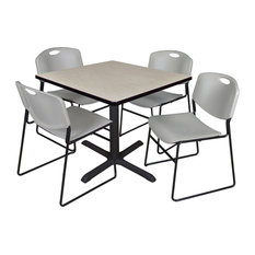 Cain 42-inch Square Breakroom Table- Maple & 4 Zeng Stack Chairs- Grey