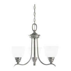 Sea Gull Lighting Wheaton Transitional Three Light Chandelier, Brushed Nickel