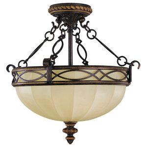 2-Light Indoor Semi Flush Mount, English Scarvo Glass Shade