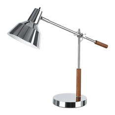 """40042, 24 1/2"""" High Modern Metal Desk Lamp, Chrome Finish With Wood Accents"""