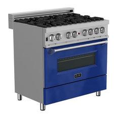 """ZLINE 36"""" Professional Dual Fuel Range in DuraSnow® with Blue Gloss Door"""
