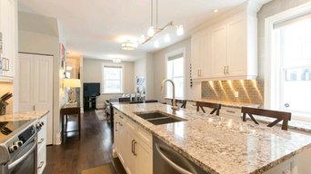 Elegant transitional kitchen & living area