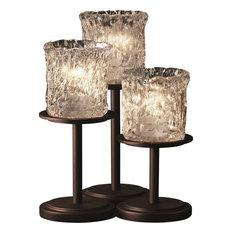 Veneto Luce - Dakota Table Lamp - Dark Bronze, Clear Textured Venetian Glass Cyl