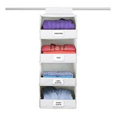 Deluxe Hanging 4 Shelf Closet Organizer, Ecru