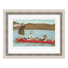 """Woofing Along on the River"" Framed Print by Sam Toft, 75x95 cm"